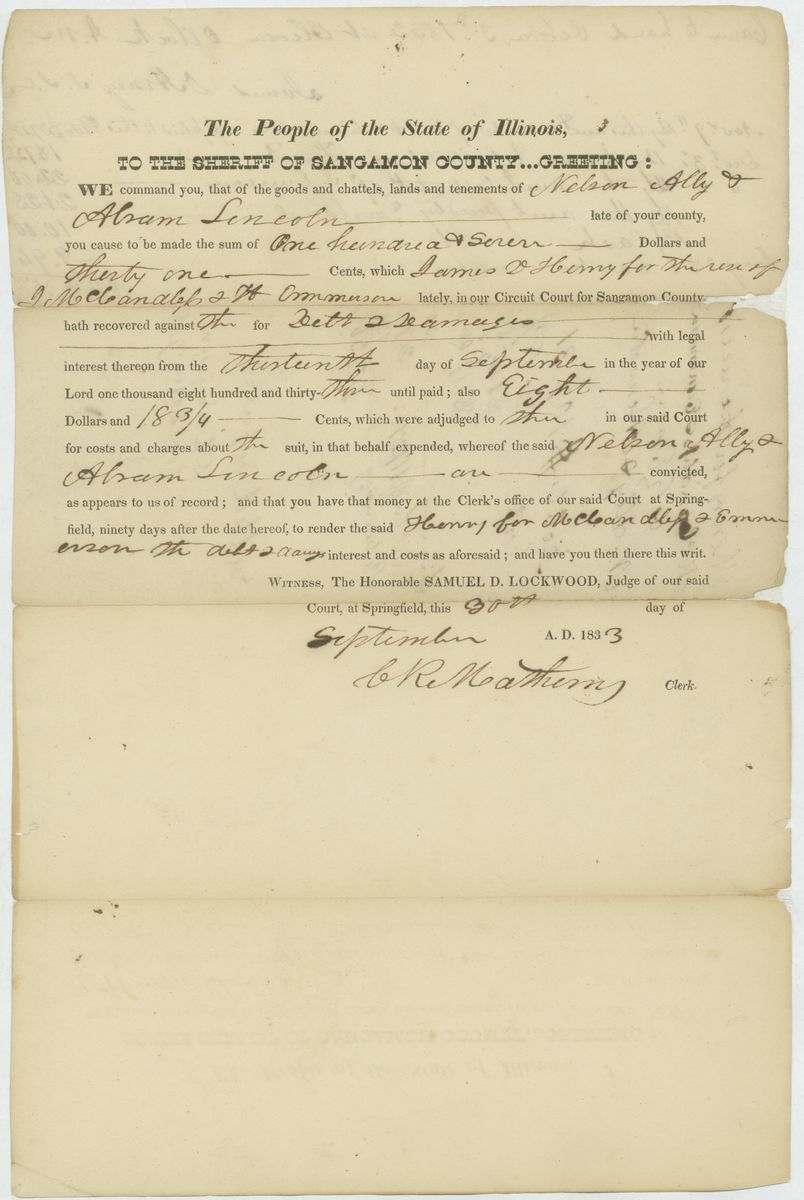 Image: Court Order in James D. Henry for the Use of J. McCandless & H. Emmerson v. Nelson Alley & Abraham Lincoln