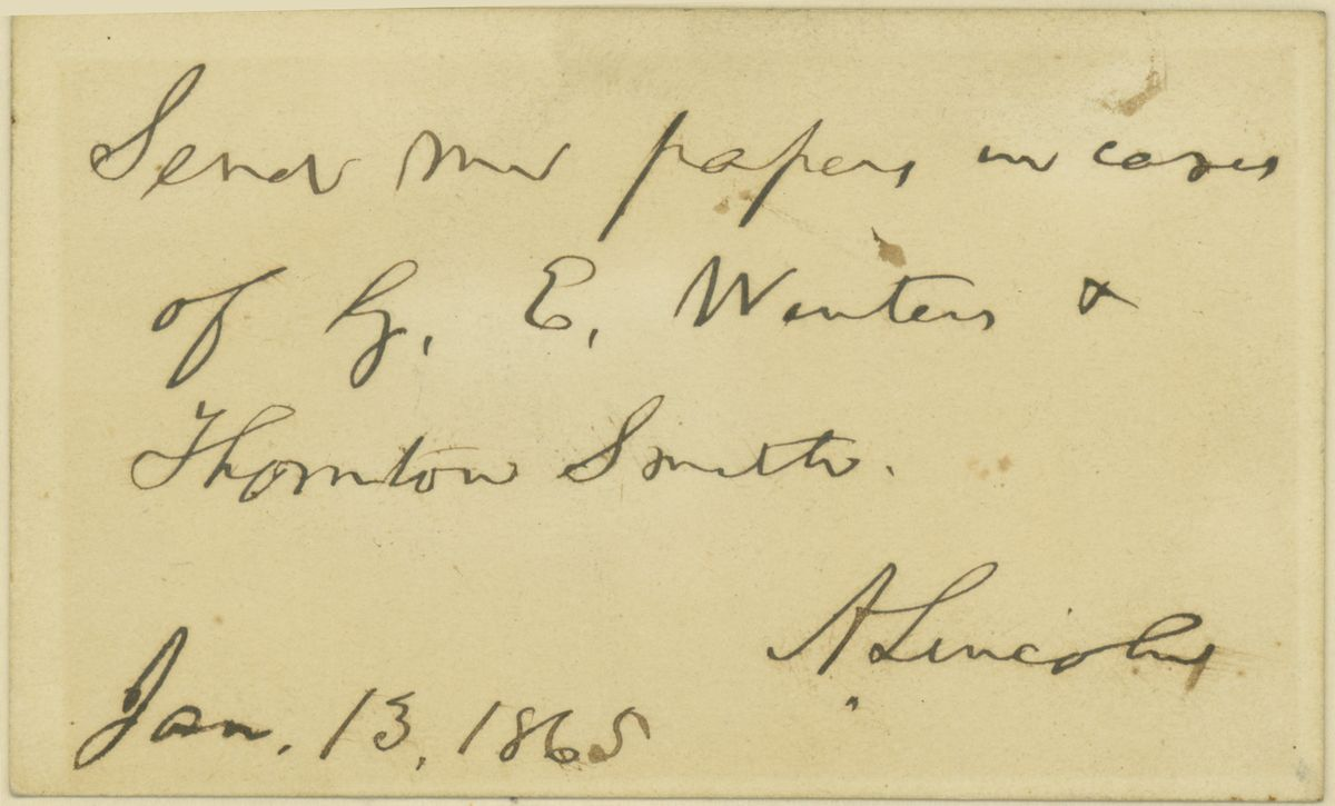 Image: Note by Abraham Lincoln