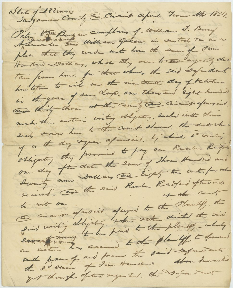 Image: Declaration in Peter Van Bergen vs. William Berry, Abraham Lincoln, & William Green