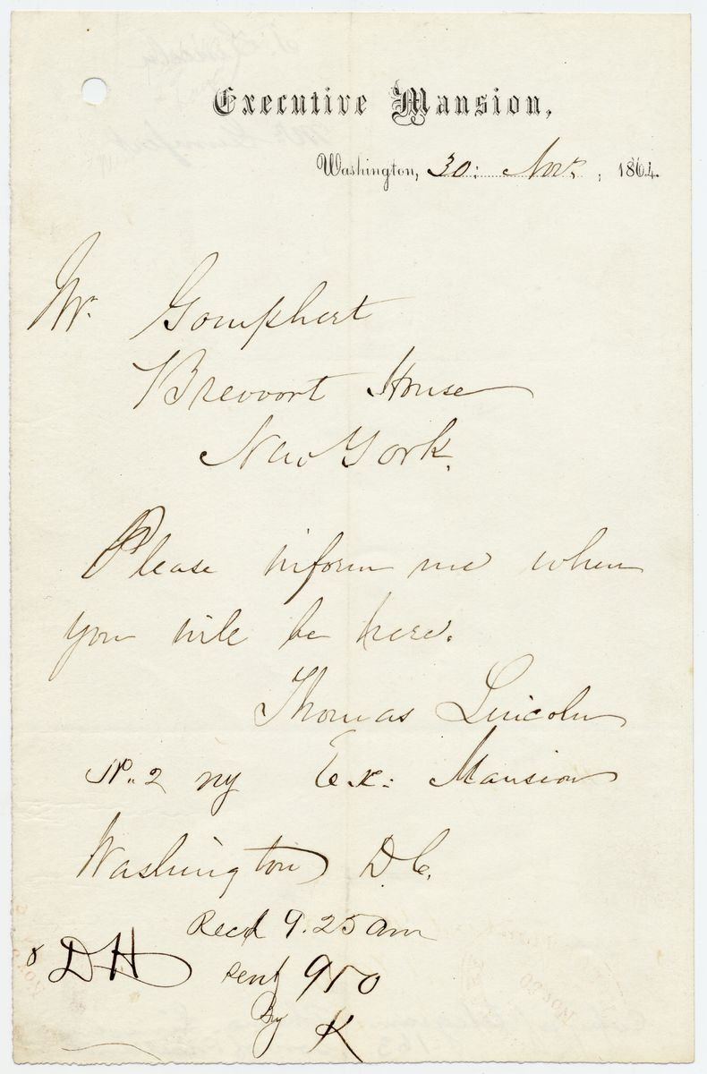 Image: Message from Tad Lincoln to Gustav Gumpert