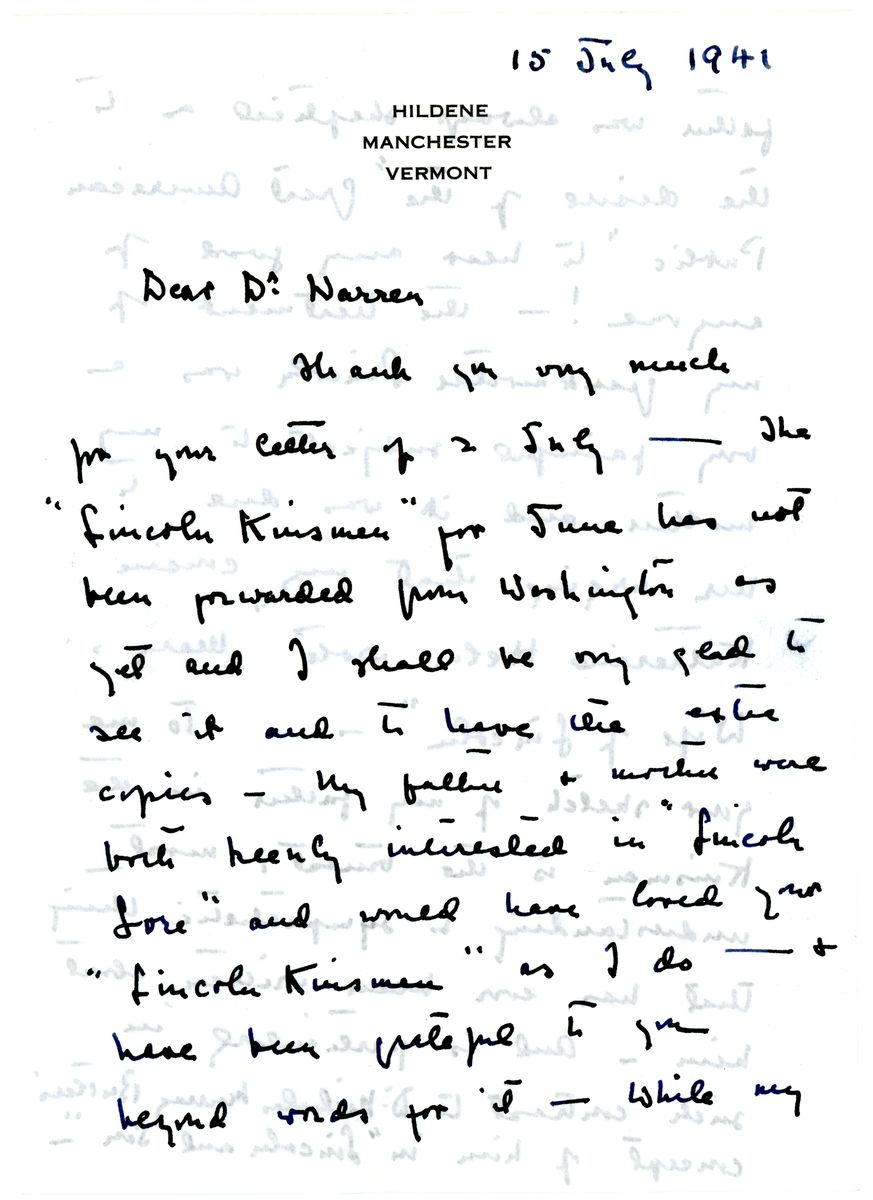 Image: Letter from Jessie Lincoln Randolph to Louis Warren