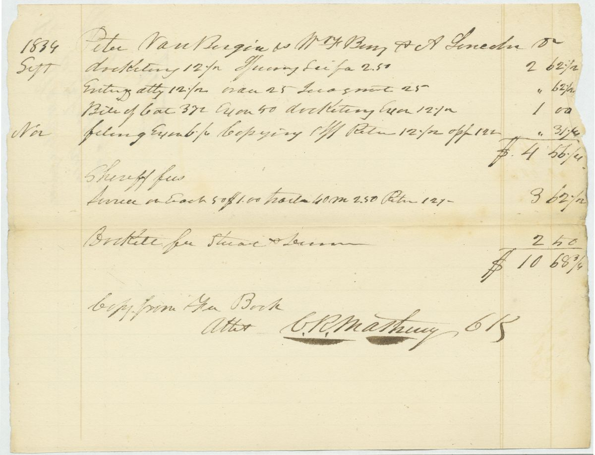 Image: Bill for Court Costs in Peter VanBergen vs. William Berry, Abraham Lincoln, & William Green