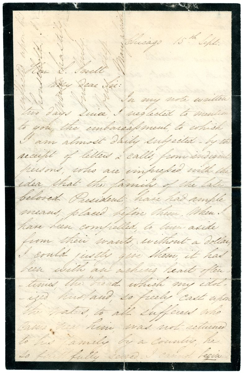 Image: Letter from Mary Todd Lincoln to Leonard Swett
