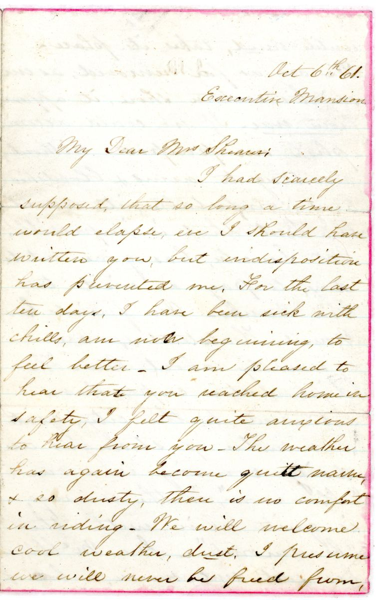 Image: Letter from Mary Todd Lincoln to Hannah Shearer