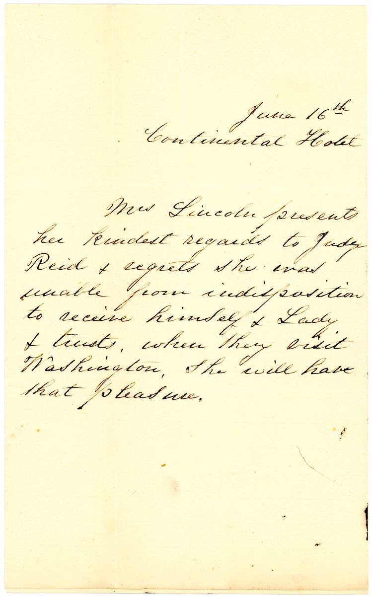 Image: Letter from Mary Todd Lincoln to John Meredith Read