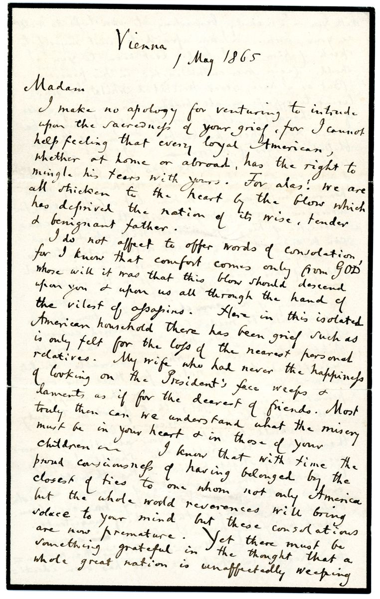 Image: Letter to Mary Todd Lincoln from John Lothrop Motley