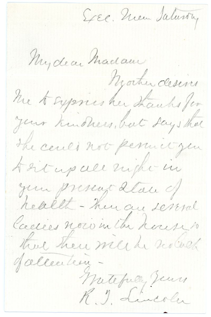 Image: Letter from Robert T. Lincoln to Madame Berghmans