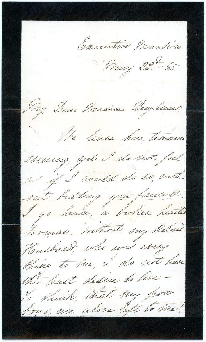 Image: Letter from Mary Todd Lincoln to Madame Berghmans