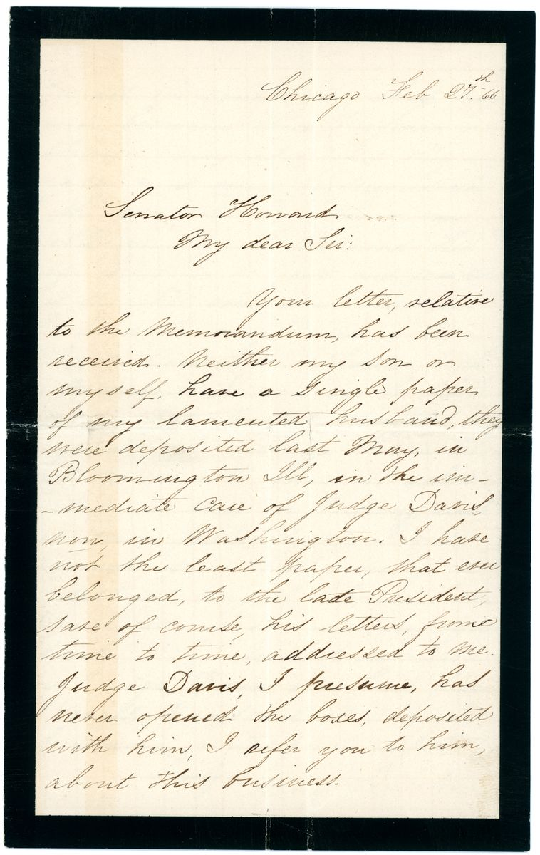 Image: Letter from Mary Todd Lincoln to Jacob M. Howard