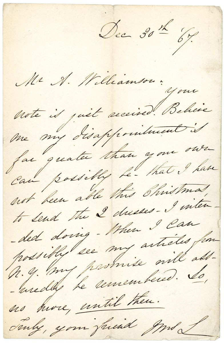 Image: Letter from Mary Todd Lincoln to Alexander Williamson