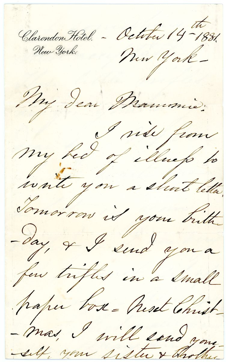 Image: Letter from Mary Todd Lincoln to Mamie Lincoln