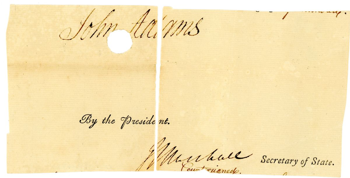 Image: Signatures of John Adams and John Marshall
