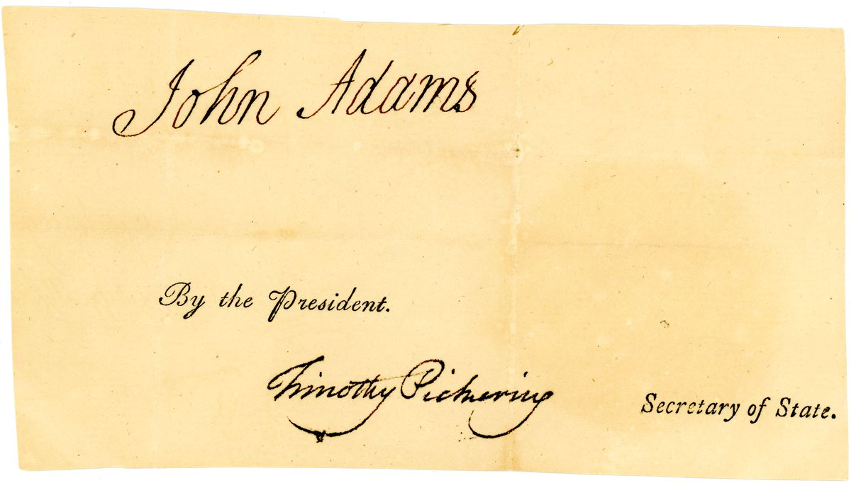 Image: Signatures of John Adams and Timothy Pickering