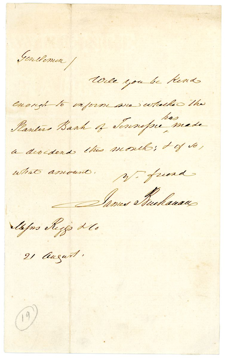 Image: Letter from James Buchanan to Riggs & Co.
