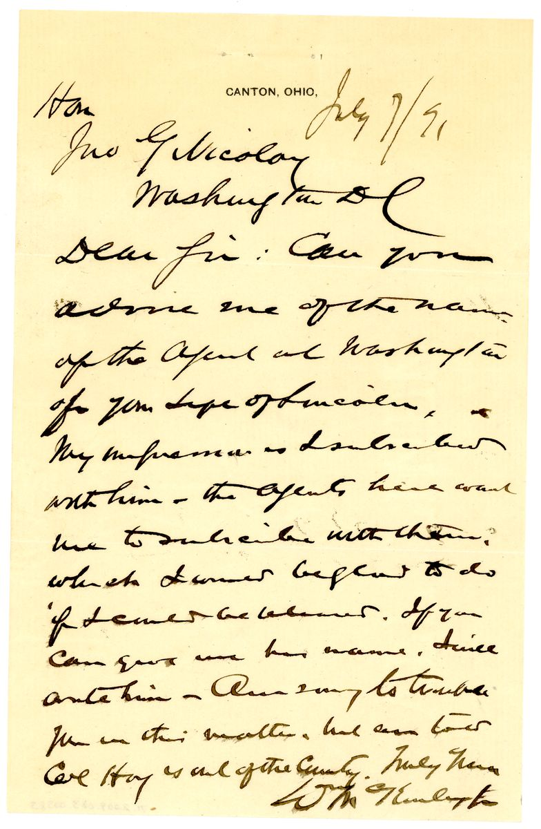 Image: Letter from William McKinley to John G. Nicolay