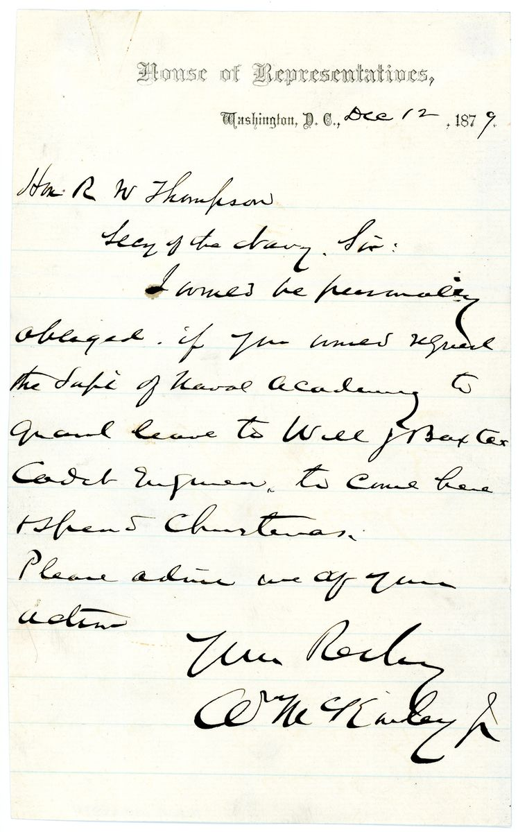 Image: Letter from William McKinley to Richard W. Thompson