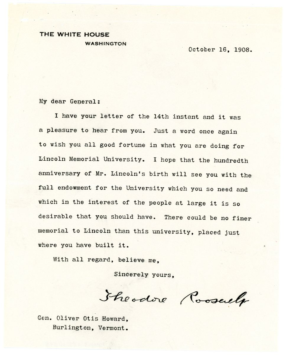 Image: Letter from Theodore Roosevelt to Oliver Otis  Howard
