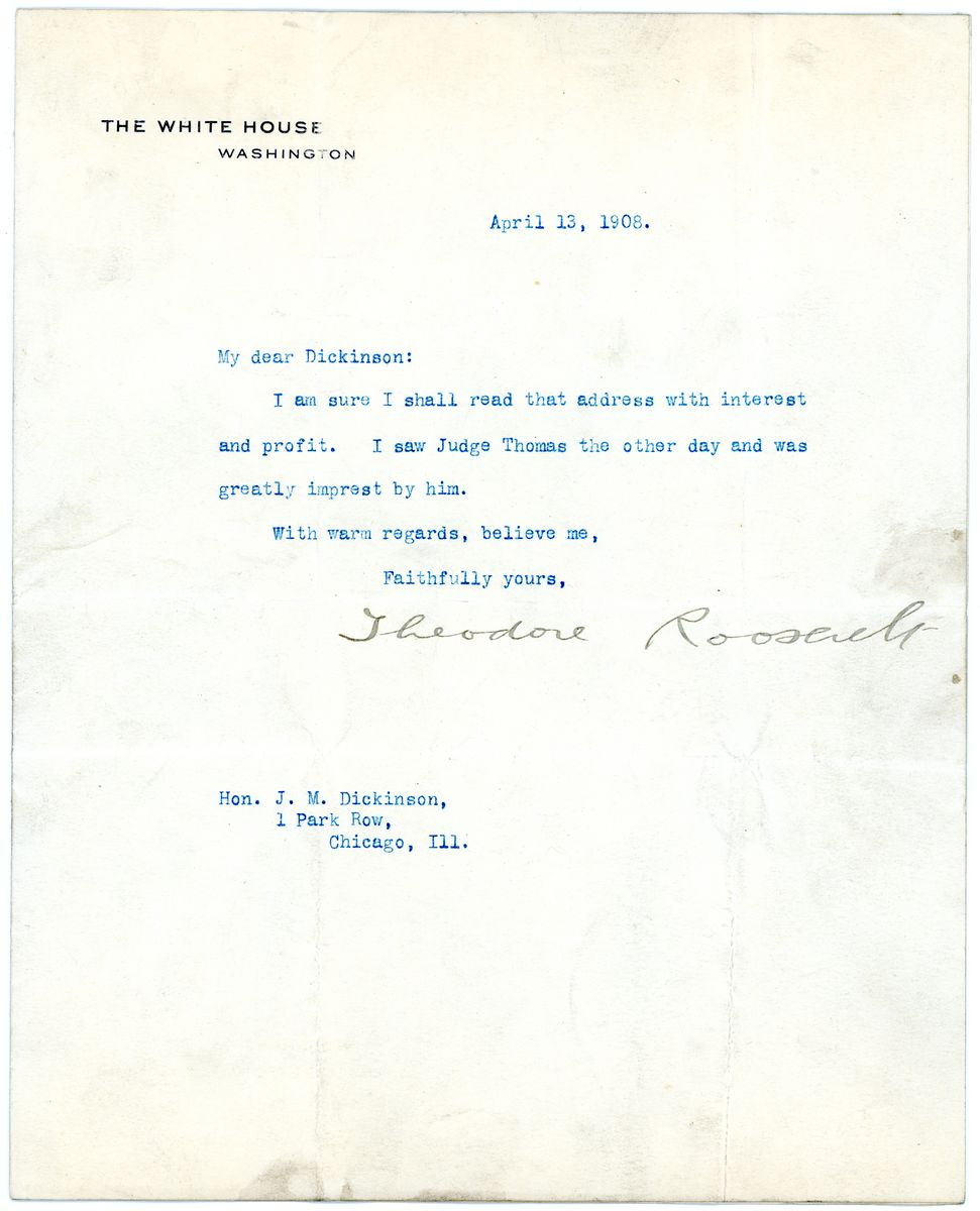 Image: Letter from Theodore Roosevelt to J.M. Dickinson