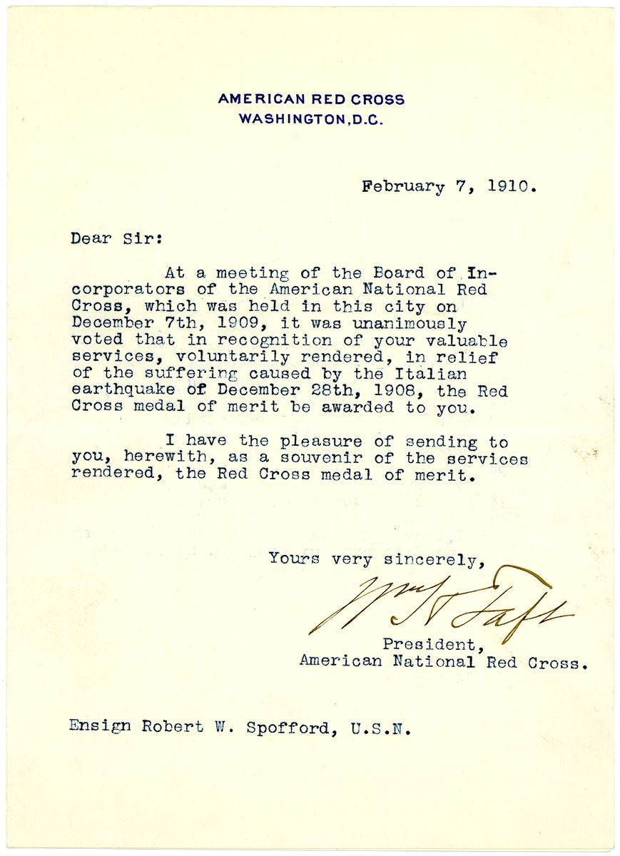Image: Letter from William Howard Taft to Robert W. Spofford