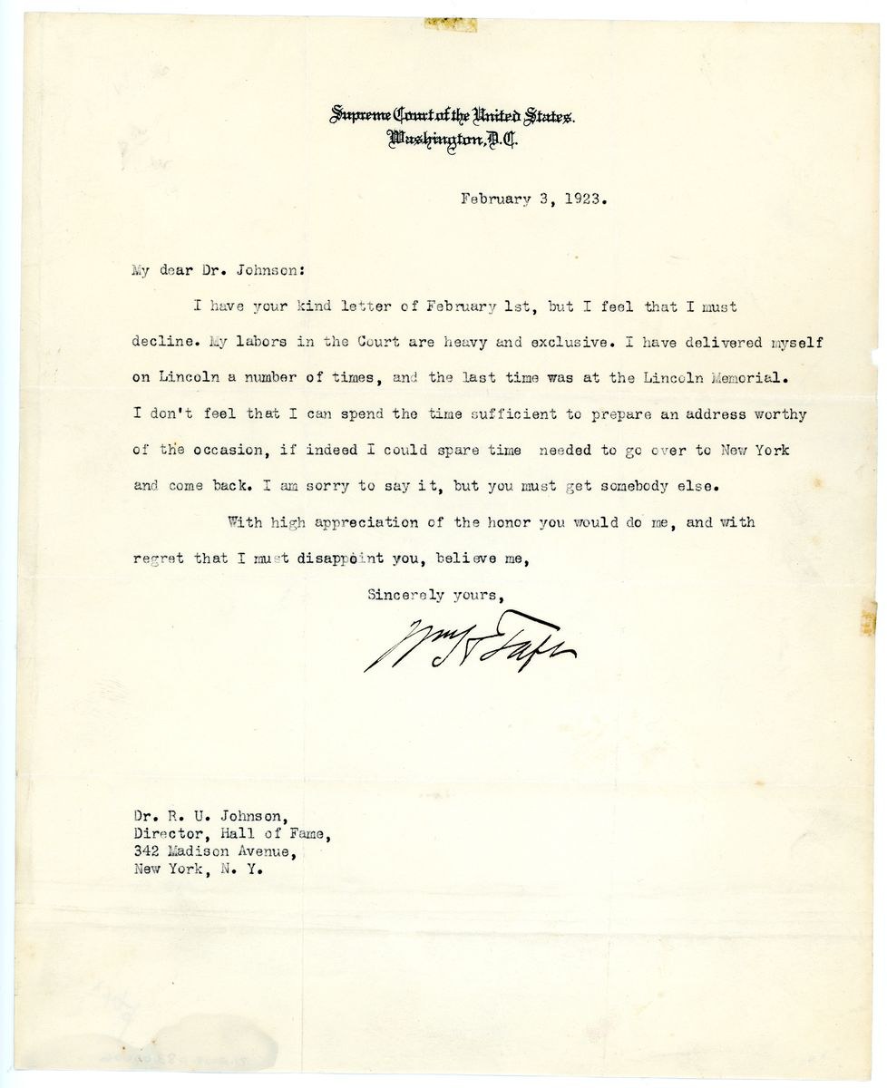 Image: Letter from William Howard Taft to Dr. R.U. Johnson