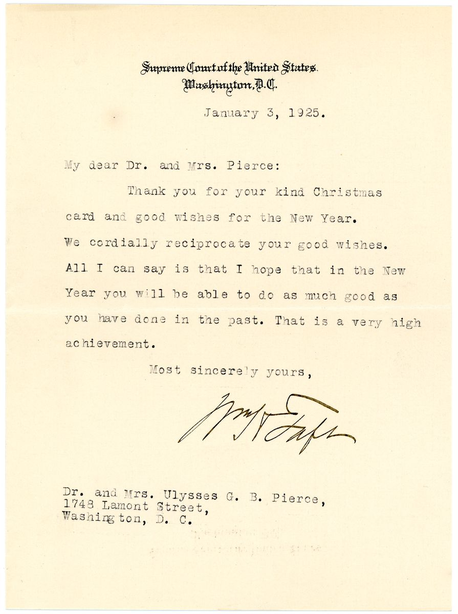 Image: Letter from William Howard Taft to Dr. and Mrs. Ulysses G.B. Pierce