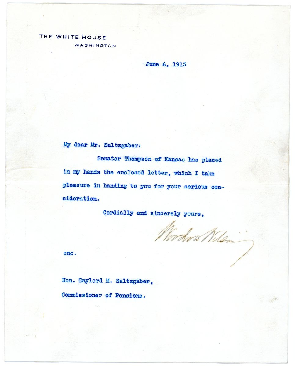 Image: Letter from Woodrow Wilson to Gaylord M. Saltzgaber