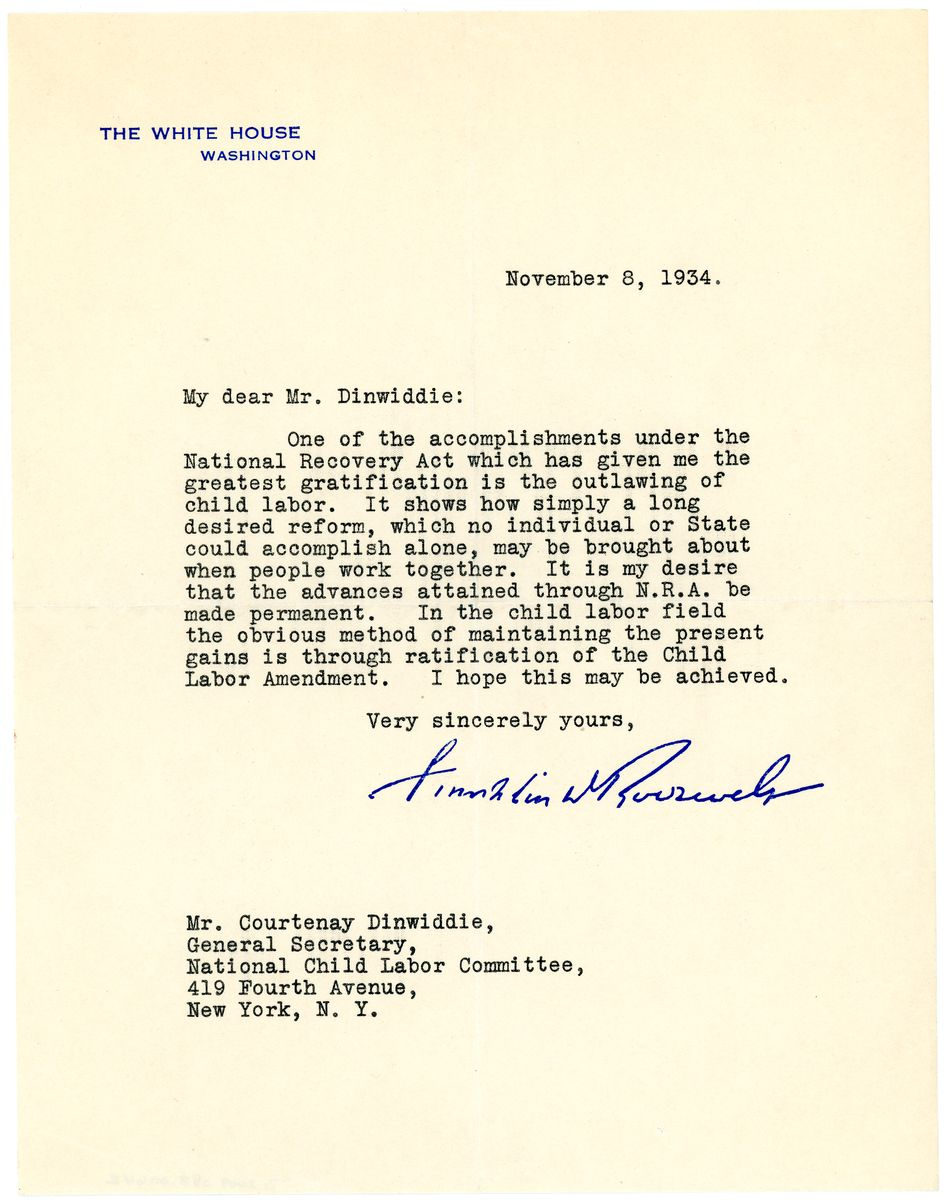 Image: Letter from Franklin D. Roosevelt to Courtenay Dinwiddie