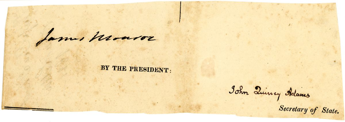 Image: Signatures of James Monroe and John Quincy Adams