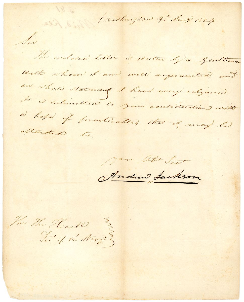 Image: Letter from Andrew Jackson to Samuel L. Southard