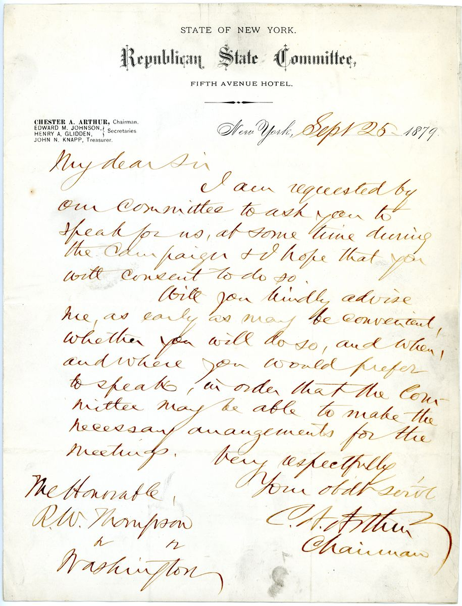 Image: Letter from Chester A. Arthur to Richard W. Thompson