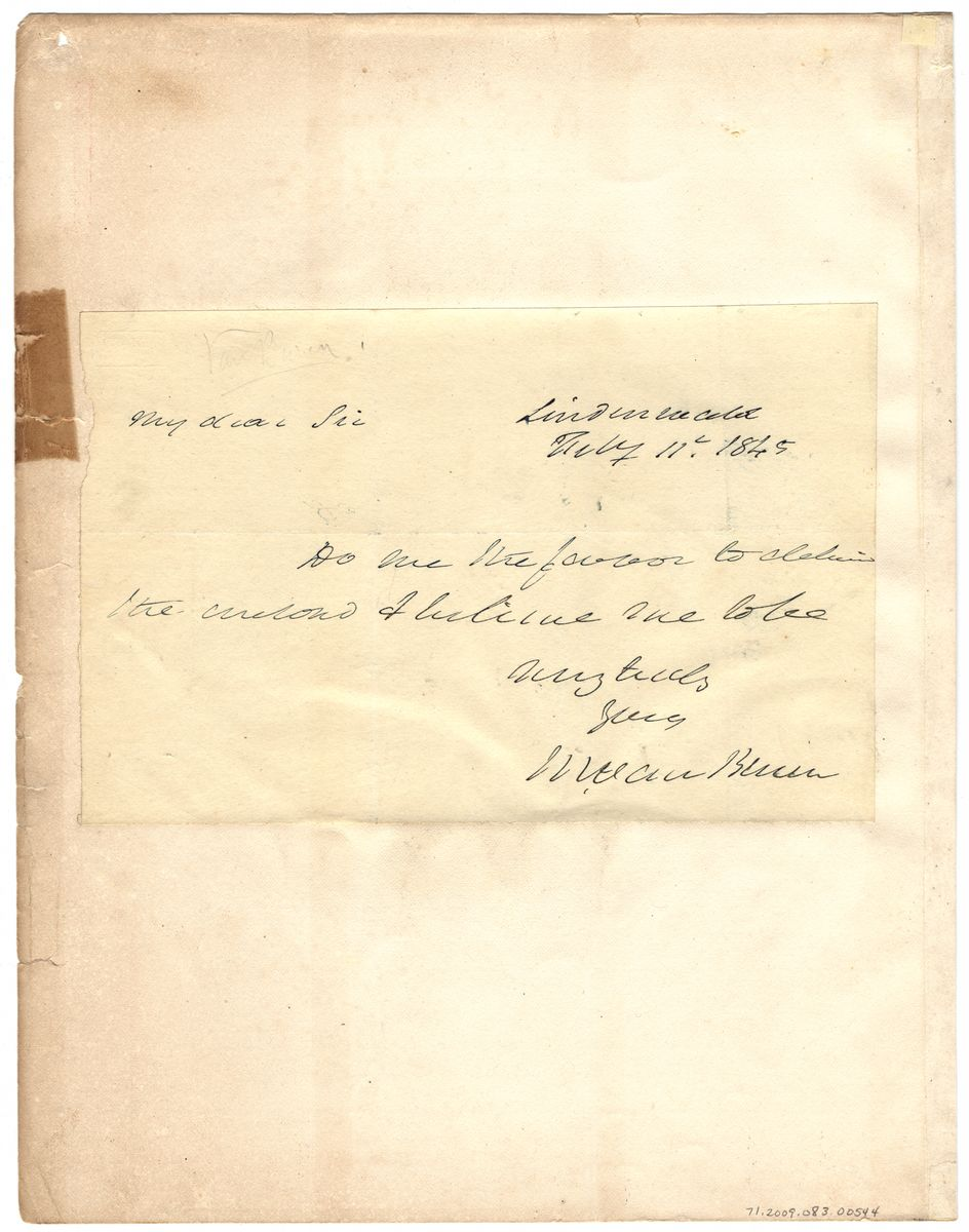 Image: Letter from Martin Van Buren to Dear Sir