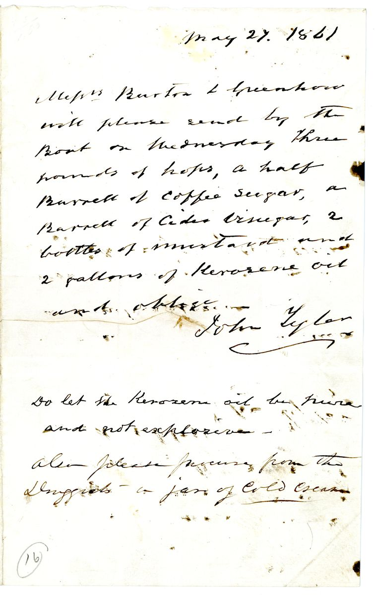 Image: Letter from John Tyler to Burton & Greenhow