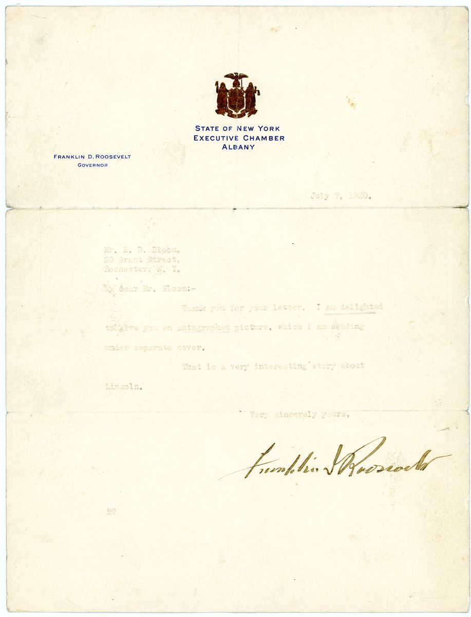 Image: Letter from Franklin D. Roosevelt to E.D. Bloom