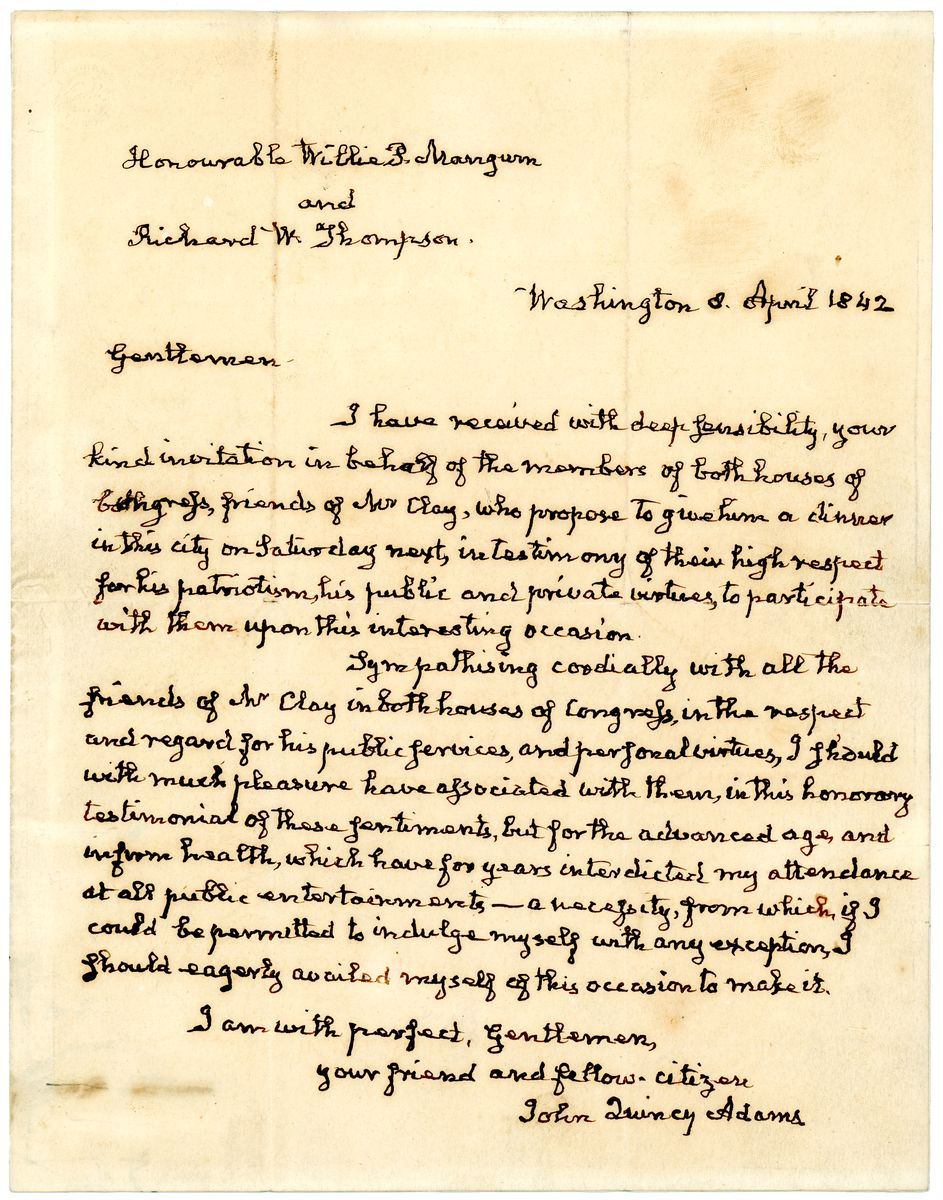 Image: Letter from John Quincy Adams to Willie P. Mangum and Richard W. Thompson