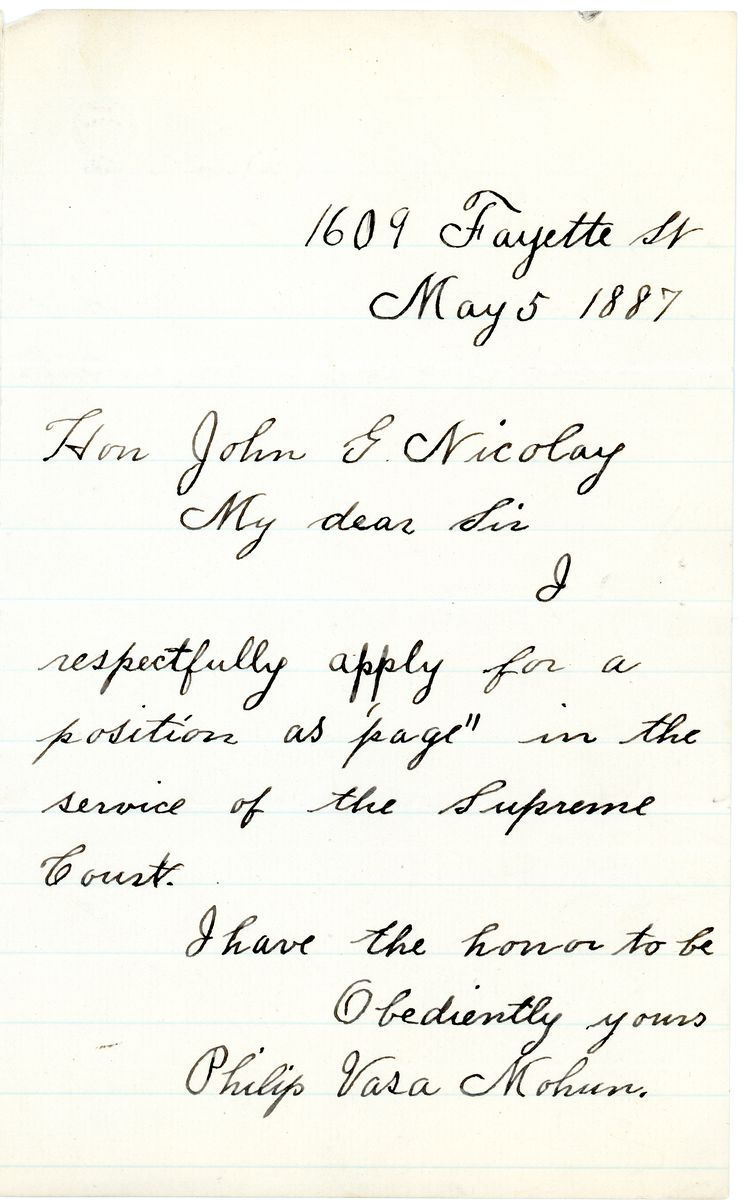Image: Letter from Philip Vasa Mohun to John G. Nicolay