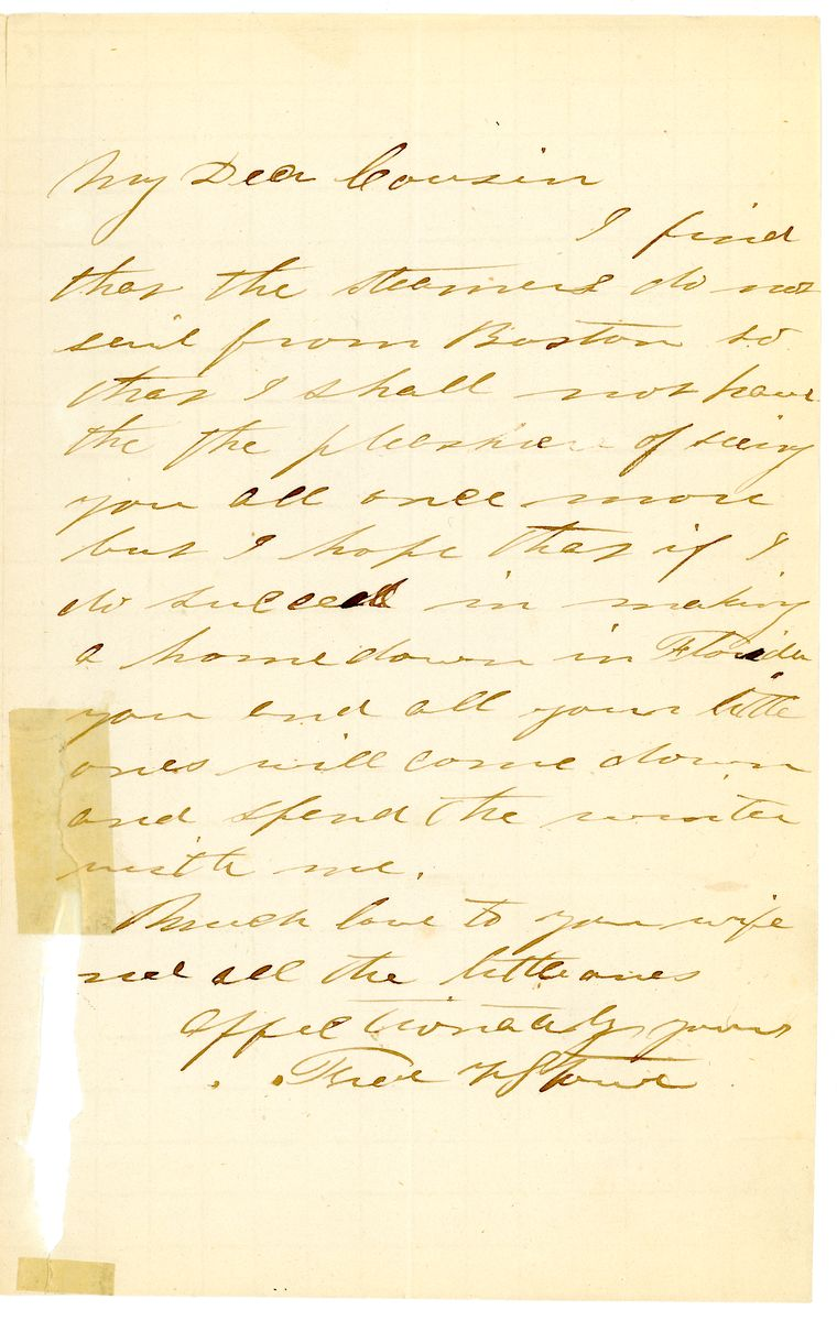 Image: Letters from Harriet Beecher Stowe and Frederick Stowe to Edward Everett Hale