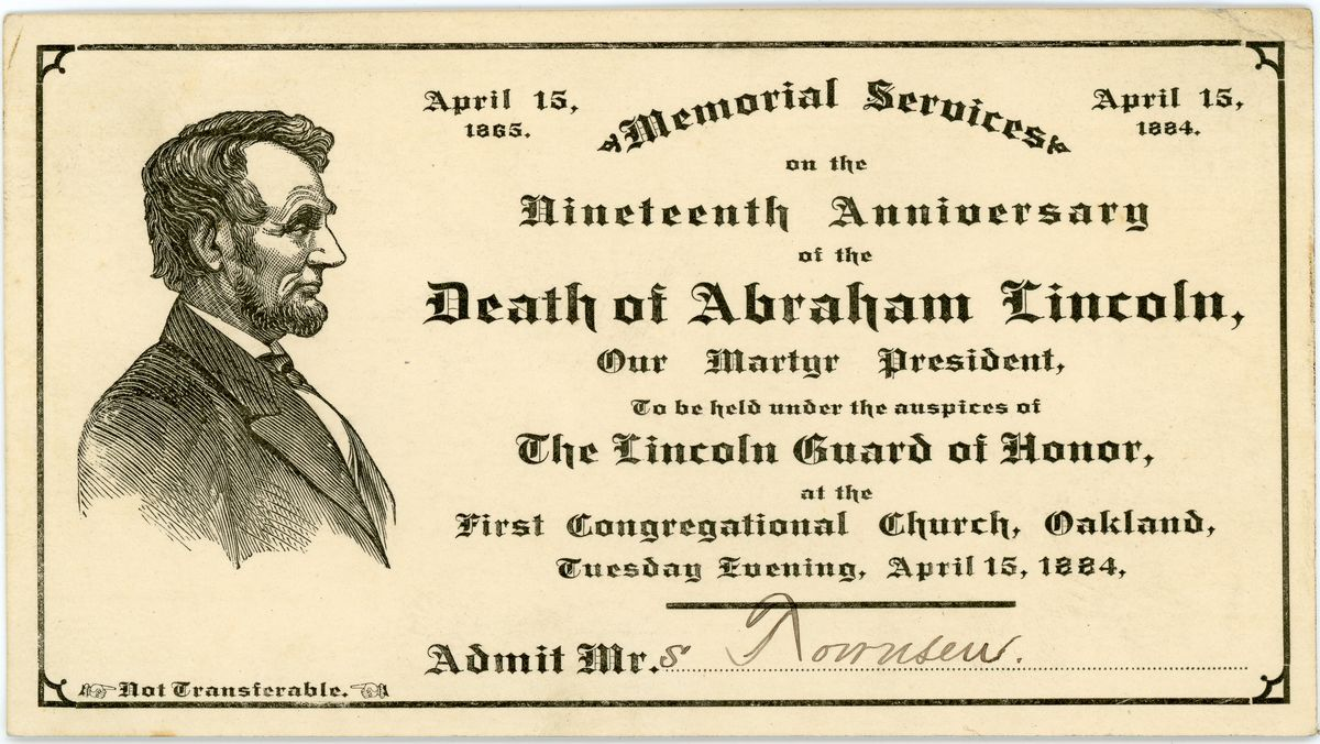 Image: Lincoln memorial services ticket, Oakland, Illinois