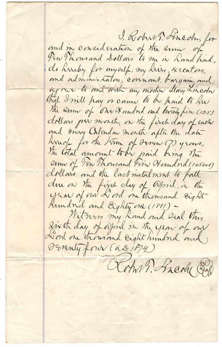 Image: Agreement between Robert Todd Lincoln and Mary Todd Lincoln