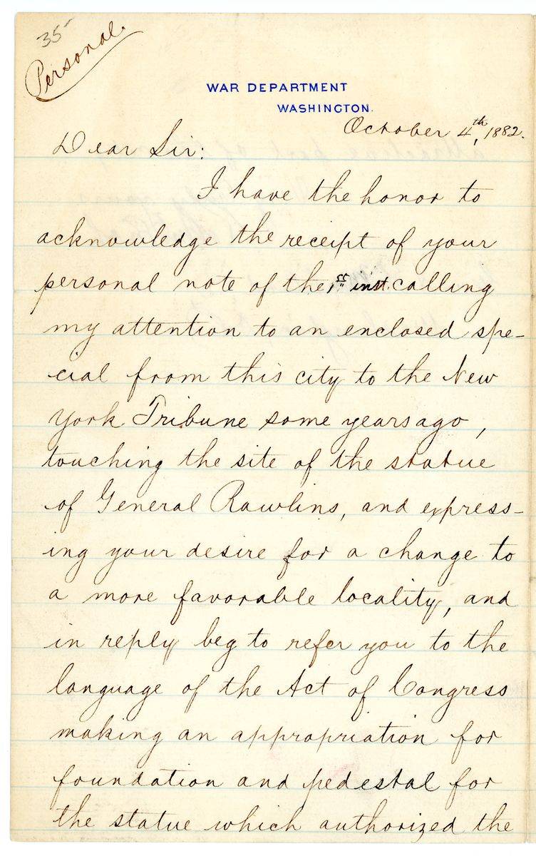 Image: Letter from Robert Todd Lincoln to A.H. Markland