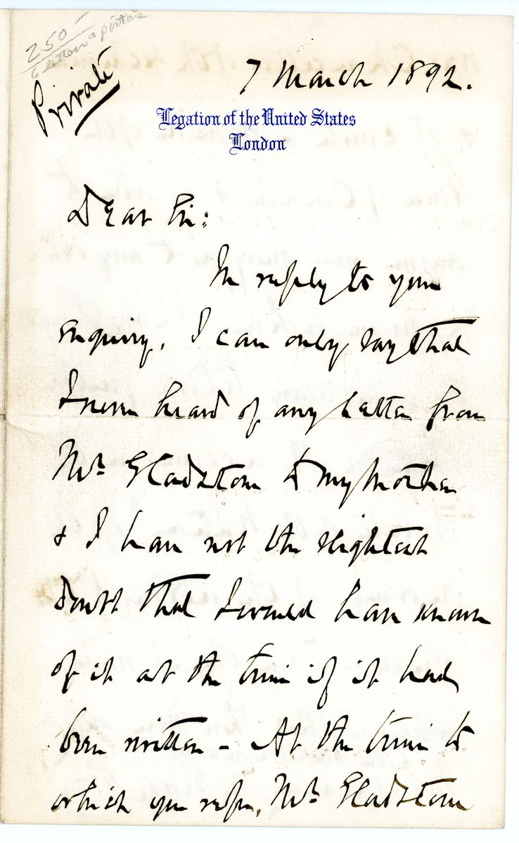 Image: Letter from Robert Todd Lincoln to Charles Marseilles