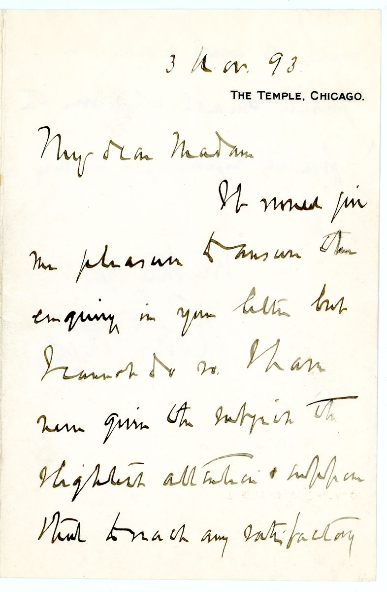 Image: Letter from Robert Todd Lincoln to Caroline Hanks Hitchcock