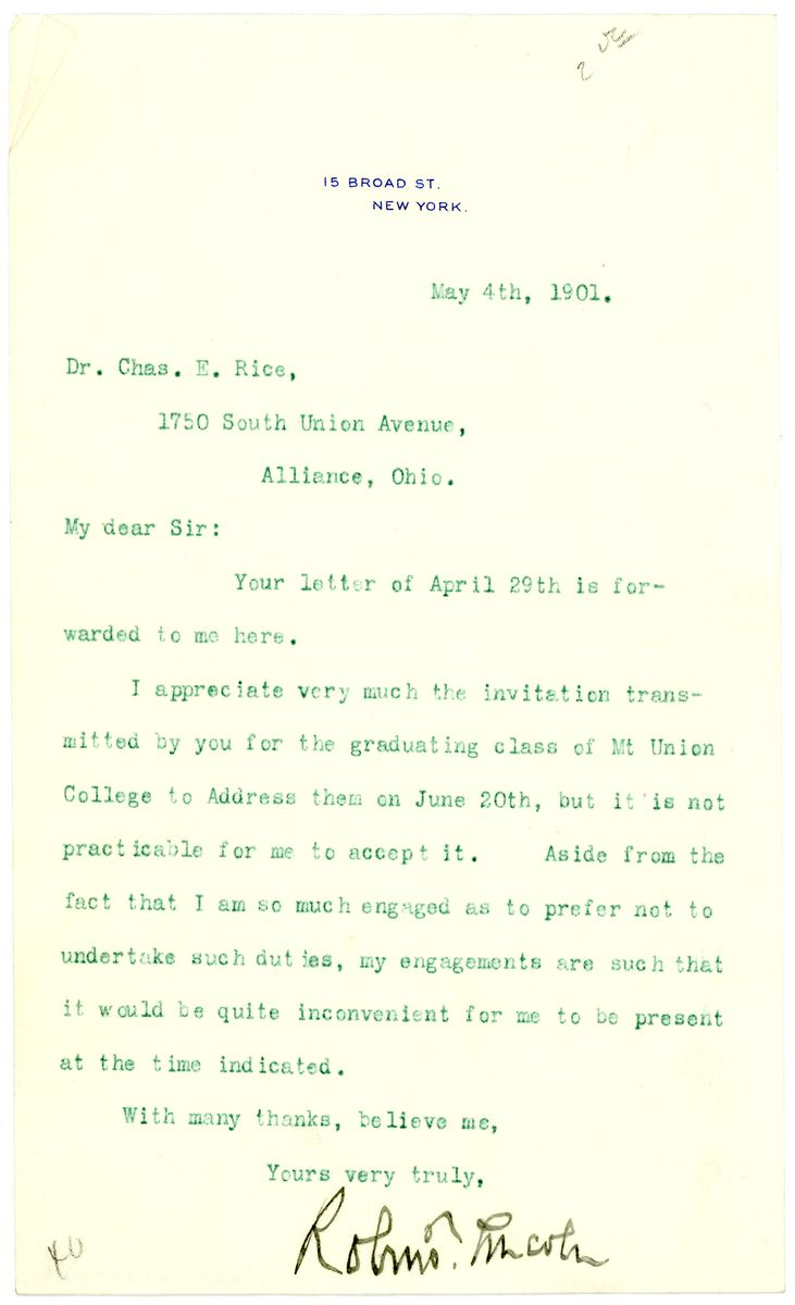 Image: Letter from Robert Todd Lincoln to Charles E. Rice