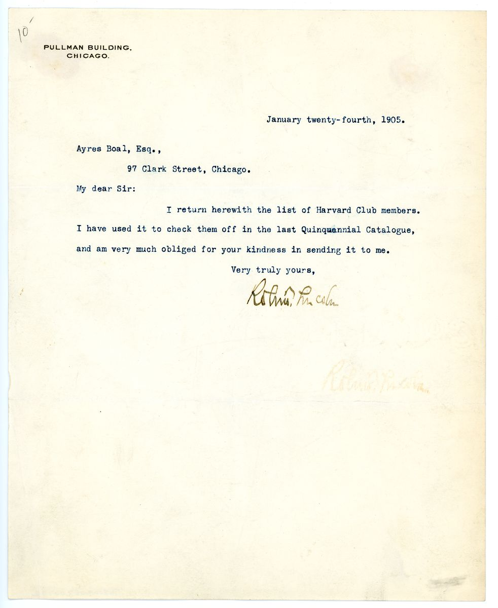 Image: Letter from Robert Todd Lincoln to Ayres Boal