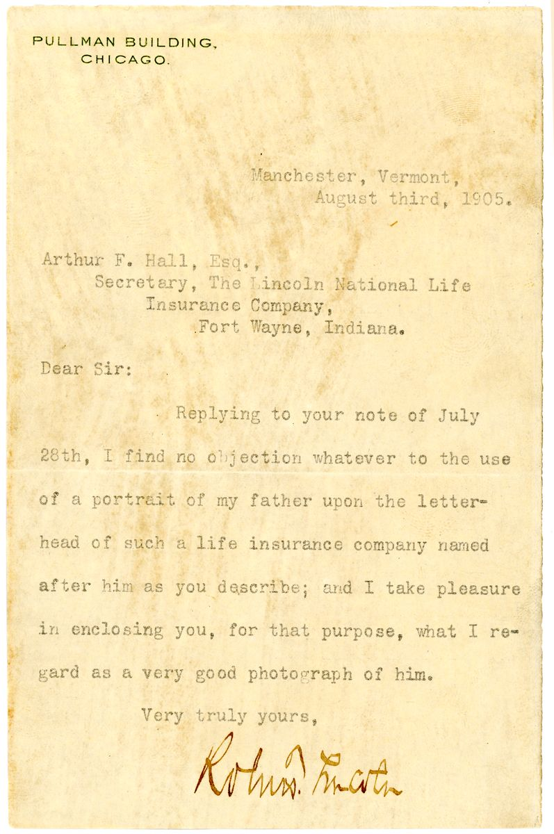 Image: Letter from Robert Todd Lincoln to Arthur F. Hall