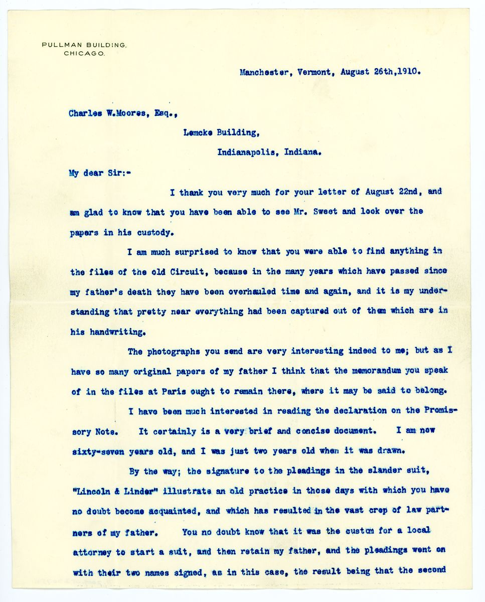 Image: Letter from Robert Todd Lincoln to Charles W. Moores