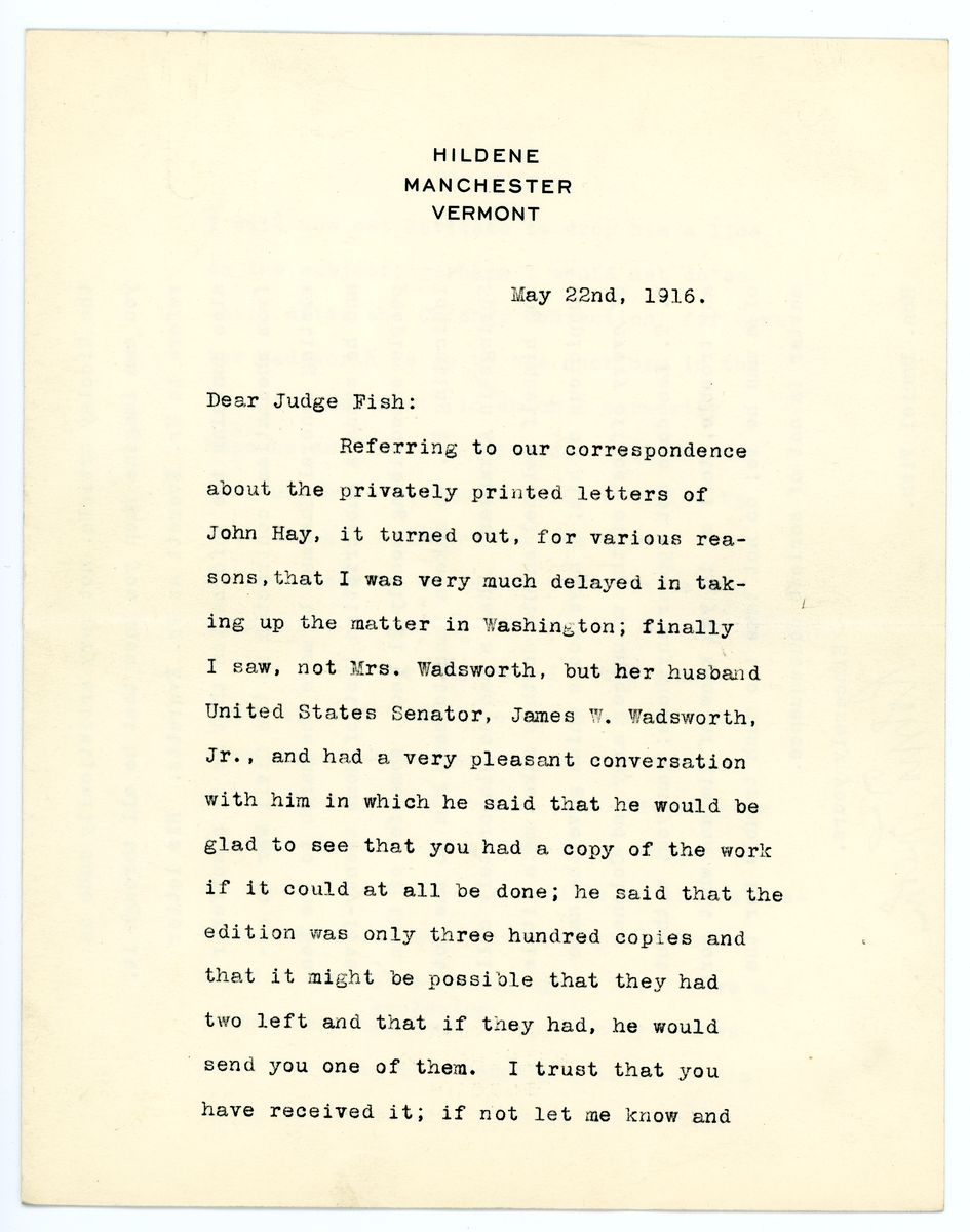 Image: Letter from Robert Todd Lincoln to Daniel Fish