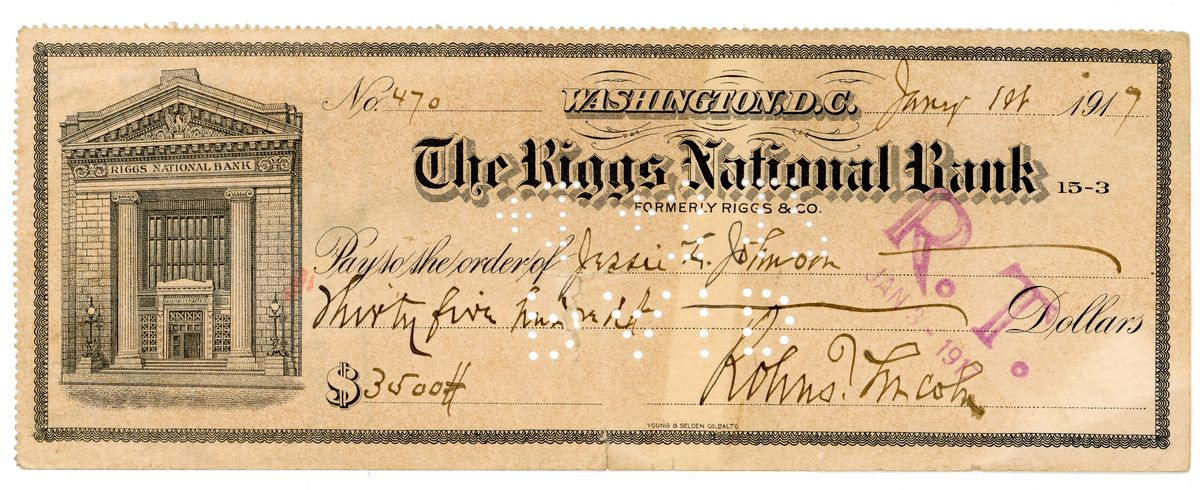Image: Check from Robert Todd Lincoln to Jessie Lincoln Johnson