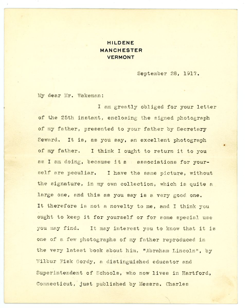Image: Letter from Robert Todd Lincoln to Abram Wakeman