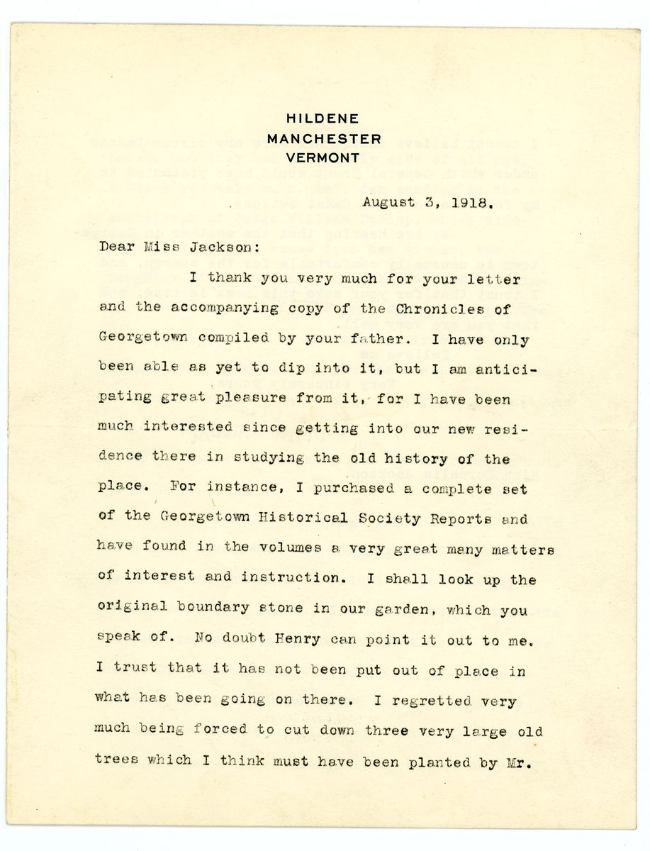 Image: Letter from Robert Todd Lincoln to Cordelia Jackson