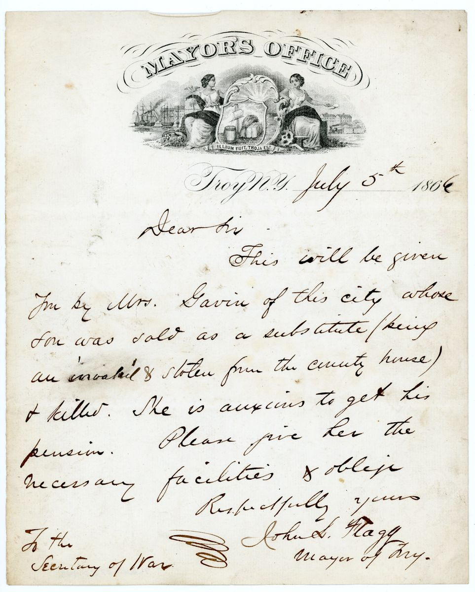Image: Letter from John L. Flagg to Edwin Stanton